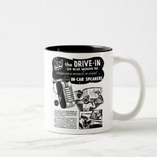 Drive-In Speakers Vintage Ad Two-Tone Mug