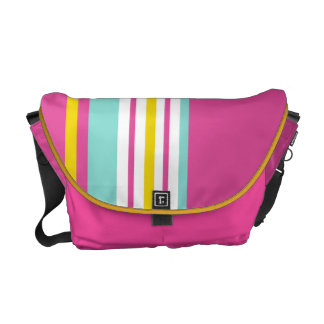 Drive in the Fast Lane Pink Yellow and Aqua Messenger Bags