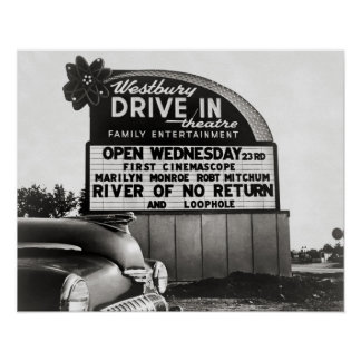 Drive-In Theater, 1954. Vintage Photo Poster