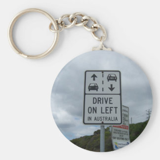 Drive On Left in Australia Sign Keychain