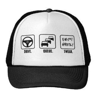 Drive. Queue. Swear. Trucker Hat