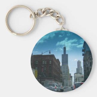 Drive Through Downtown Chicago Keychain