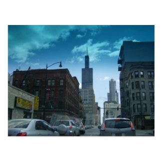 Drive Through Downtown Chicago Postcard