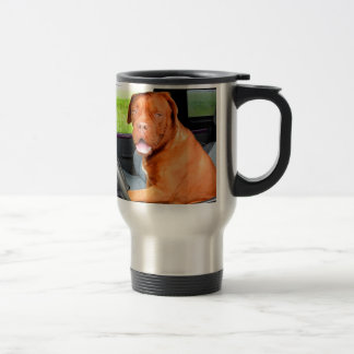 Drive to love peace joy dog dogue de bordeaux travel mug