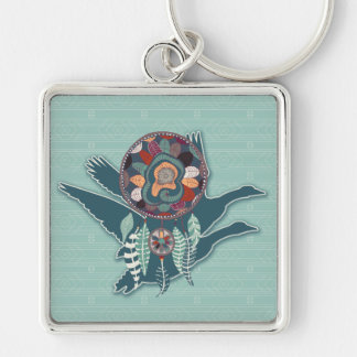 Driven Goose Spirit Guide for Native American Silver-Colored Square Keychain