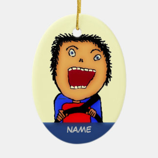 Driver Cartoon Ceramic Ornament