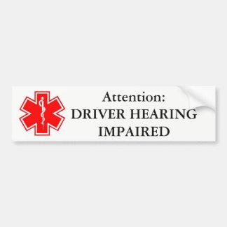 Driver Hearing Impaired Bumper Sticker
