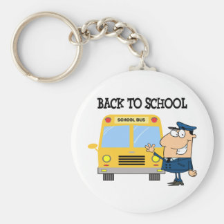Driver In Front of School Bus Basic Round Button Keychain