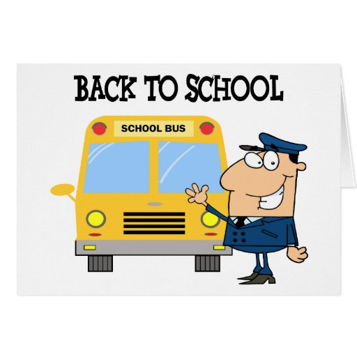 Driver In Front of School Bus Greeting Card