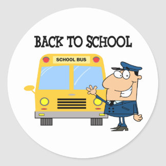 Driver In Front of School Bus Round Sticker