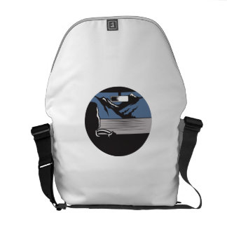 Driver Looking Mountain Pass Oval Woodcut Commuter Bags