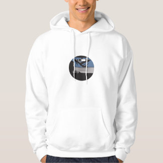 Driver Looking Mountain Pass Oval Woodcut Hoodie