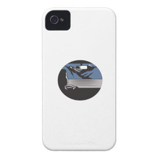 Driver Looking Mountain Pass Oval Woodcut iPhone 4 Case
