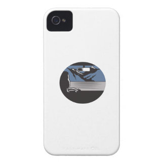 Driver Looking Mountain Pass Oval Woodcut iPhone 4 Cover