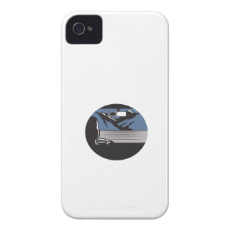 Driver Looking Mountain Pass Oval Woodcut iPhone 4 Covers