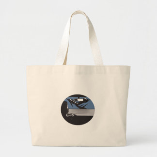 Driver Looking Mountain Pass Oval Woodcut Large Tote Bag
