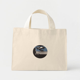 Driver Looking Mountain Pass Oval Woodcut Mini Tote Bag