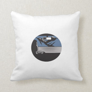 Driver Looking Mountain Pass Oval Woodcut Throw Pillow