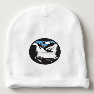 Driver Looking Up Mountain Car Windshield Oval Woo Baby Beanie