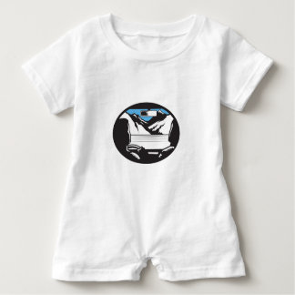 Driver Looking Up Mountain Car Windshield Oval Woo Baby Romper