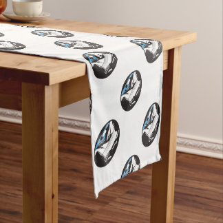 Driver Looking Up Mountain Car Windshield Oval Woo Short Table Runner