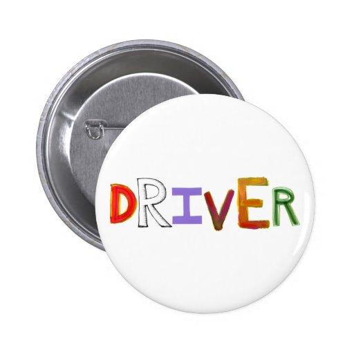 Driver word art colorful unique designated sober button