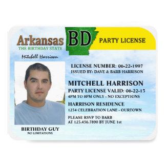 Drivers License Arkansas Birthday Invitations