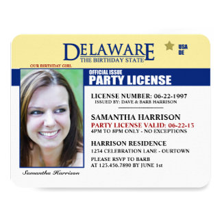Drivers License Delaware Birthday Invitations
