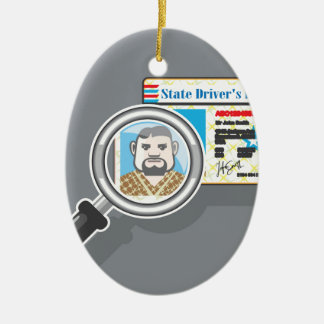 Driver's License under Magnifying glass Ceramic Ornament