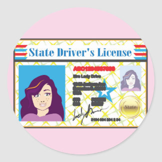 Driver's License Woman photo ID vector Classic Round Sticker