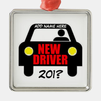 Drivers Training Keepsake Silver-Colored Square Ornament