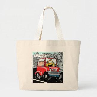 Driving Cartoon 9308 Large Tote Bag