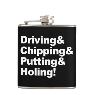 Driving&Chipping&Putting&Holing (wht) Hip Flask
