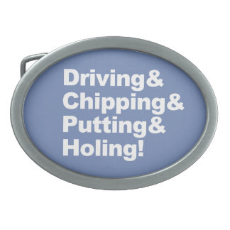 Driving&Chipping&Putting&Holing (wht) Oval Belt Buckle