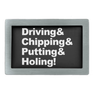 Driving&Chipping&Putting&Holing (wht) Rectangular Belt Buckle