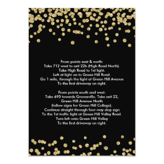 Driving Directions Gold Faux Glitter Confetti Blac Card