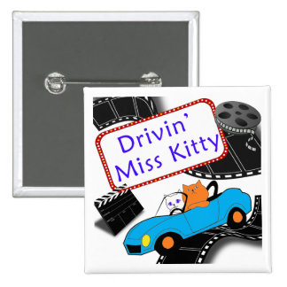Driving Miss Kitty 2 Inch Square Button