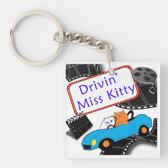 Driving Miss Kitty Double-Sided Square Acrylic Keychain