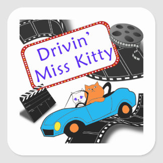 Driving Miss Kitty Square Sticker