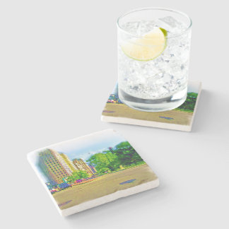Driving Through Lincoln Avenue Stone Beverage Coaster