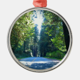 Driving Through the Forest in Crescent City Silver-Colored Round Ornament