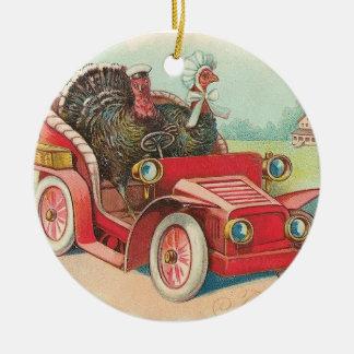 Driving Turkeys Thanksgiving Ornament