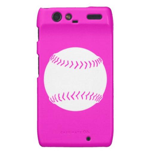 Droid RAZR Softball Silhouette White/Pink Motorola Droid RAZR Cases