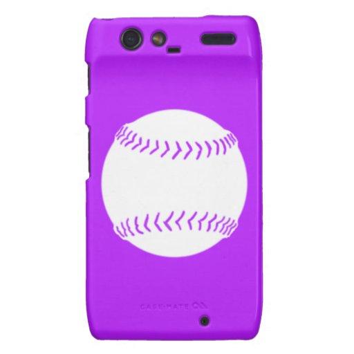 Droid RAZR Softball Silhouette White/Purple Motorola Droid RAZR Case
