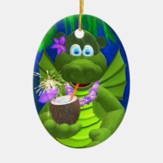 Drolly Dragons Coconut Girl Ceramic Oval Ornament