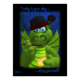Drolly Dragons Father's Day Poster