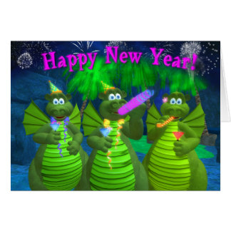 Drolly Dragons Happy New Year Card