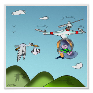 Drone Cartoon 9482 Poster