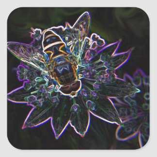 Drone Flower Glow Square Sticker