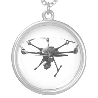Drone Grey Silver Plated Necklace